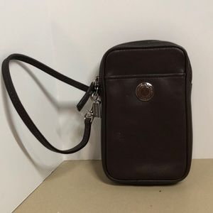 Coach Bags - COACH BROWN LEATHER WRISTLET CELL PHONE CASE